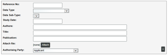 Illustration of information list data entry fields