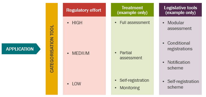 applications received are categorised with a regulatory risk of high, medium or low. Example treatment processes include full assessment for high risk applications, partial assessment for a medium risk application and self-registration or monitoring where the application is assessed as having a low regulatory risk. Example legislative tools used in treatment processes include modular assessment, conditional registrations, the notification scheme and the self-registration scheme, as relevant.