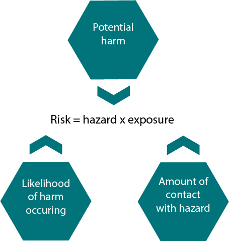 Risk = hazard x exposure diagram. To adequately determine risk we take into account the potential harm, the likelihood of the harm occurring and the amount of contact with the hazard.