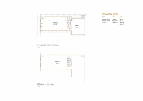 Grand floor and level one GFA plan for the APVMA Armidale office