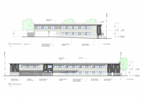Side and back elevations for the APVMA offices in Armidale